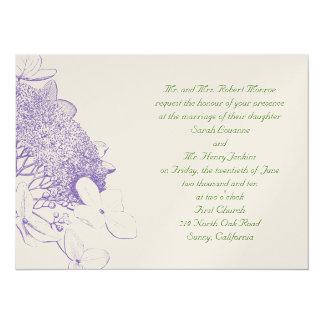 Invitación-lavanda y verde de Hydranga Invitación 13,9 X 19,0 Cm