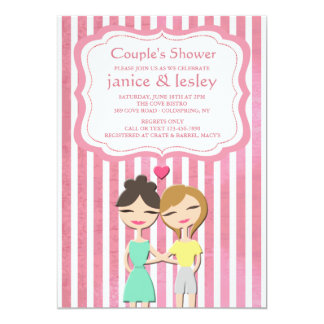 Invitación lesbiana de la ducha de los pares