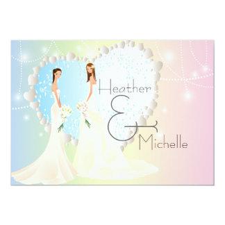 Invitación lesbiana de la novia y del boda de la