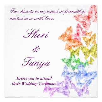 Invitación lesbiana gay de la ceremonia de boda de