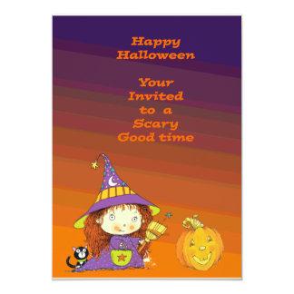 Invitación linda de la bruja del feliz Halloween