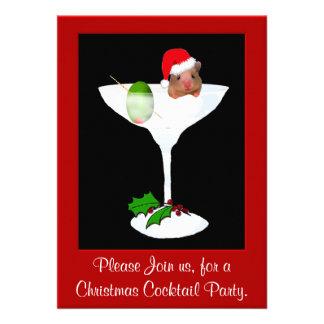 Invitación linda de la fiesta de Navidad del hámst