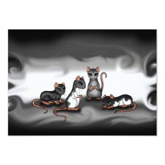 invitación linda de las ratas invitación 12,7 x 17,8 cm
