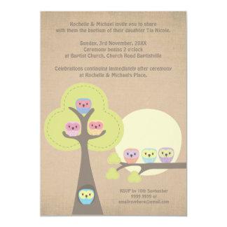 Invitación linda de los búhos de la ceremonia del