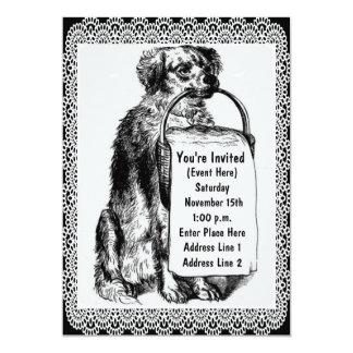 Invitación linda del arte del perro del vintage
