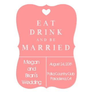 Invitación linda del boda - coma la bebida y esté