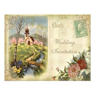 Invitación linda del boda de la iglesia del vintag