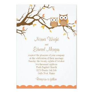 Invitación linda del boda del búho invitación 12,7 x 17,8 cm