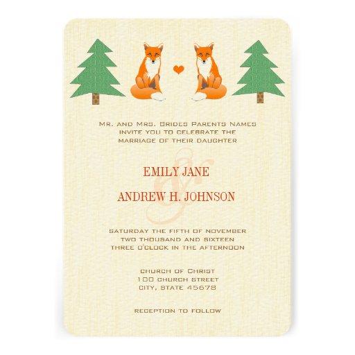 Invitación linda del boda del Fox