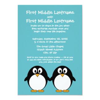 Invitación linda del boda del pingüino