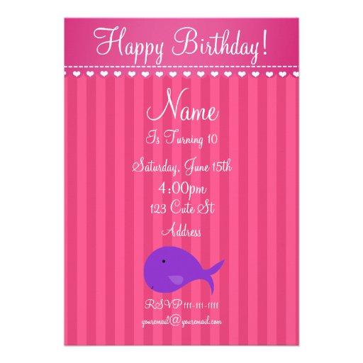 Invitación linda del cumpleaños de la ballena