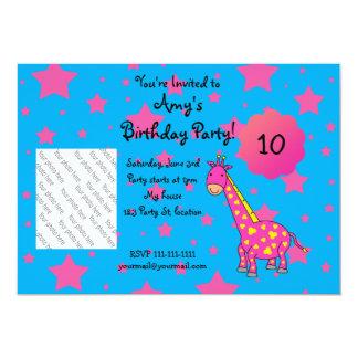 Invitación linda del cumpleaños de la jirafa invitación 12,7 x 17,8 cm