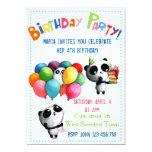Invitación linda del cumpleaños de la panda invitación 12,7 x 17,8 cm