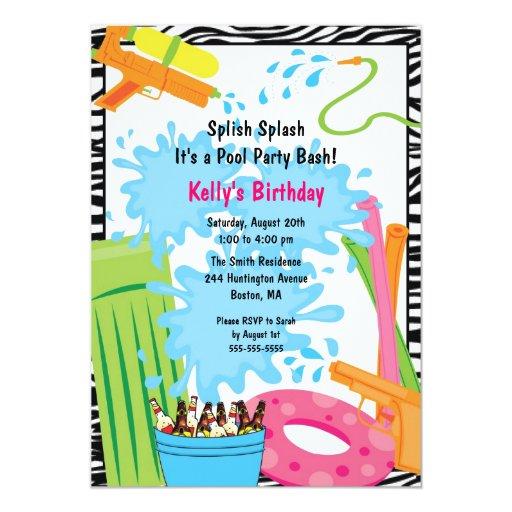 Invitación linda del cumpleaños de la piscina