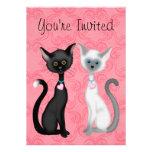 Invitación linda del cumpleaños de los gatos para