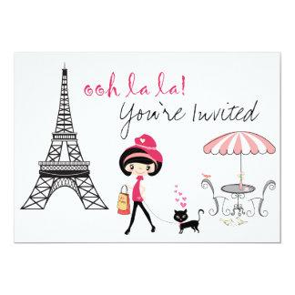 Invitación linda del cumpleaños de París del chica