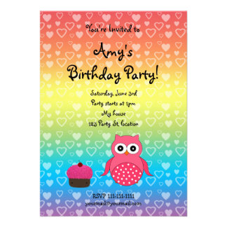 Invitación linda del cumpleaños del búho