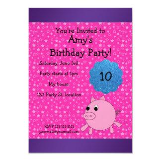 Invitación linda del cumpleaños del cerdo invitación 12,7 x 17,8 cm
