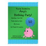Invitación linda del cumpleaños del cerdo