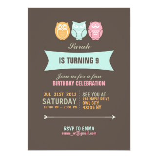 Invitación linda del cumpleaños del dibujo animado invitación 12,7 x 17,8 cm