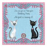 Invitación linda del cumpleaños del gato del