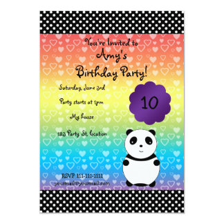 Invitación linda del cumpleaños del oso de panda invitación 12,7 x 17,8 cm