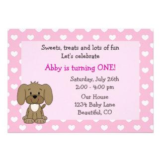 Invitación linda del cumpleaños del perro de perri
