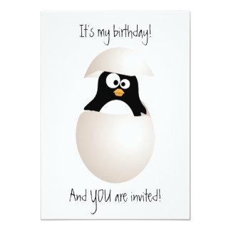 Invitación linda del cumpleaños del pingüino