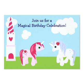 Invitación linda del cumpleaños del unicornio invitación 12,7 x 17,8 cm