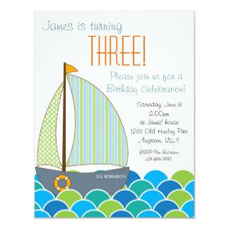 Invitación linda del cumpleaños del velero -