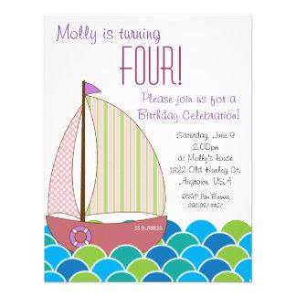 Invitación linda del cumpleaños del velero - chica