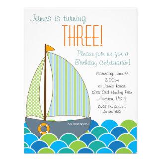 Invitación linda del cumpleaños del velero - mucha