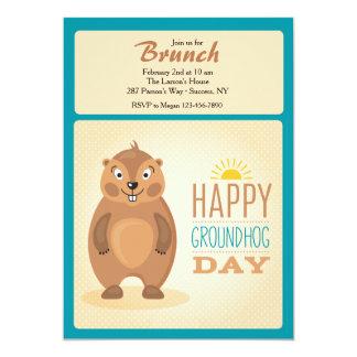 Invitación linda del día de la marmota