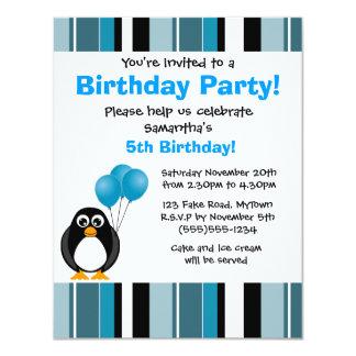 Invitación linda del fiesta de la raya azul del invitación 10,8 x 13,9 cm