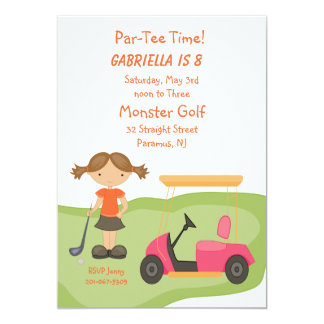 Invitación linda del fiesta de los chicas del golf