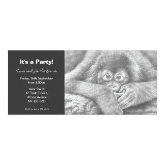 Invitación linda del fiesta del orangután del bebé