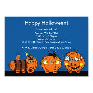 Invitación linda del fiesta del tren de Halloween