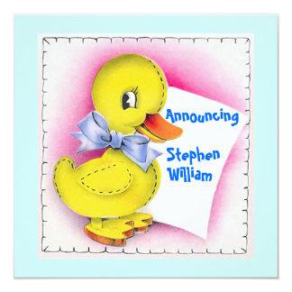 Invitación linda del nacimiento del bebé del pato