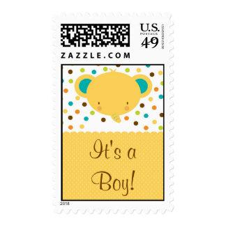 Invitación linda del nacimiento del elefante es un sellos postales