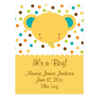 Invitación linda del nacimiento del elefante es un postal