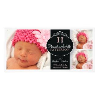 Invitación linda del nacimiento del monograma de l tarjetas fotográficas personalizadas