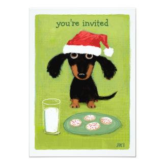 Invitación linda del navidad de Santa del perro