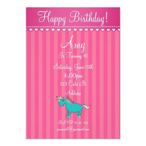 Invitación linda del unicornio invitación 12,7 x 17,8 cm