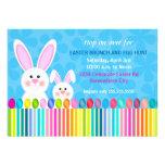 Invitación linda y colorida del conejito de pascua