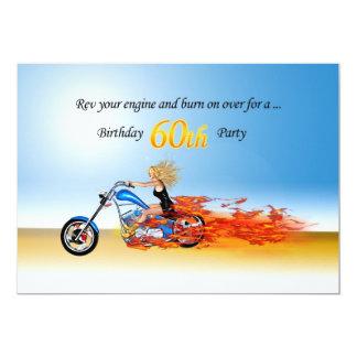 invitación llameante del fiesta de la motocicleta