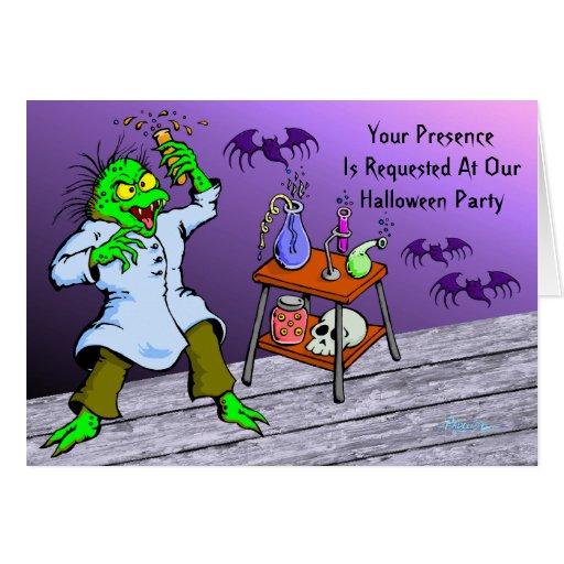 Invitación loca del fiesta de Halloween del Tarjeta De Felicitación