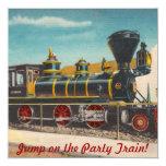 Invitación locomotora del fiesta del vintage