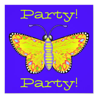 Invitación luminosa del fiesta de la mariposa