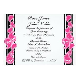 Invitación (magenta) anversa del boda