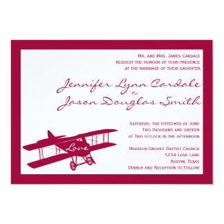Invitación magenta del boda del aviador del